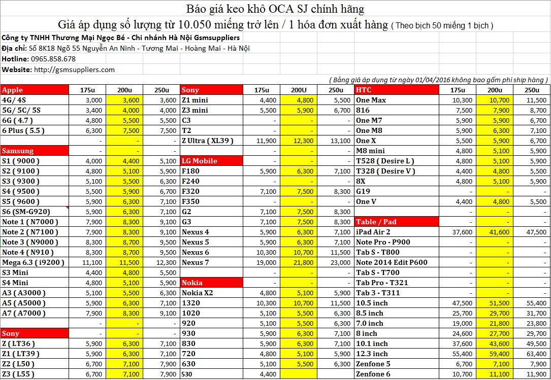 Bảng giá keo khô oca misubishi chính hãng sj độ dầy chuẩn